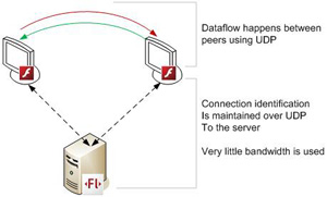 """Communication using RTMFP — end users connect directly, which reduces bandwidth needs"""